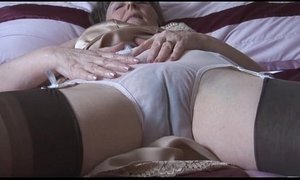 granny  hairy pussy  panties  stockings