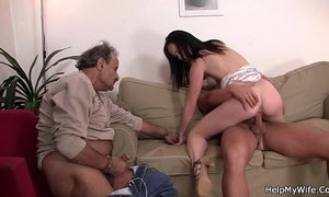 cuckold husband old cunt riding on boy watching wife